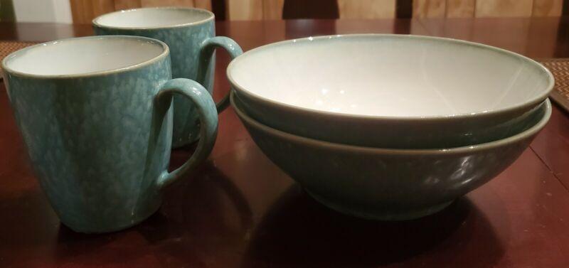 2 Coffee/ Tea Cups & Two Soup / Salad Bowls Sango Metallics Aqua 4768