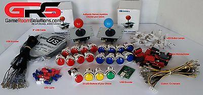 Arcade Sanwa Control Panel LED Illuminated Kit 2 Joysticks, 20 Buttons USB MAME