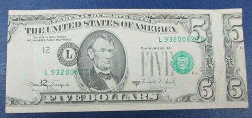 $5 FRN Error Note 1988 A Misaligned Face Printing Error Major Shift Face Q4A5