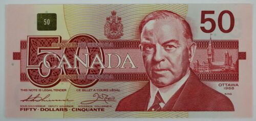1988 BANK OF CANADA FIFTY DOLLARS FHG 844980 BC-59a THIESSEN CROW LARGE F NOTE