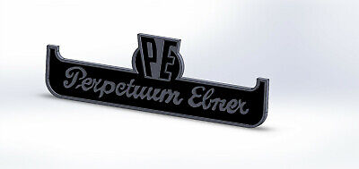logo PE PERPETUUM EBNER aluminium 15/10eme usiné CNC Dim 80x 30mm