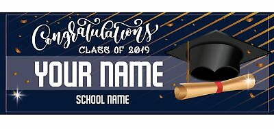 Personalized Graduation Banner Black Gold Background Party Decoration Class 2019 - Graduation Personalized Banner