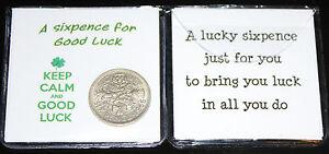 Lucky Sixpence Coin Keep Calm Good Luck Keepsake Gift  (Four Leaf Clover)