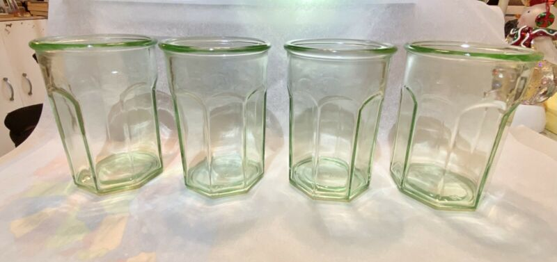 4 Anchor Hocking Green Vaseline Glass Tumblers 5.5 Rock Glasses