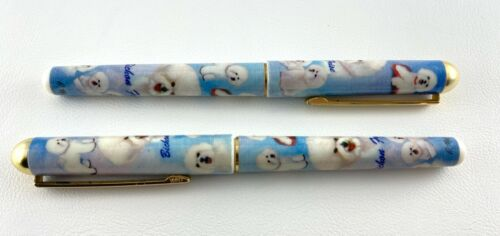 Lot 2 Bichon Frise Ballpoint Pen Dog Black Ink Ruth Maystead Stocking Stuffer