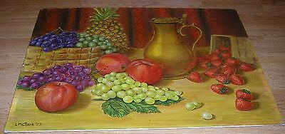 VINTAGE STRAWBERRY APPLE GRAPE PINEAPPLE GARDEN BOTANICAL FRUIT ORCHARD PAINTING