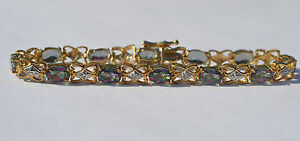 New 10k Yellow Gold Mystic Topaz and Diamond Bracelet 7 1/8