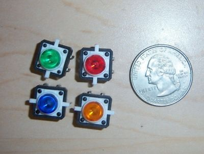 12mm Square Pcb Tactile Switch With Led Normally Open Shipping Usa Lot Of 4