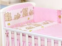 BRAND NEW COT BED SET BUMPER (Pink Cuddled Teddy Bear)
