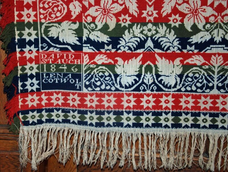 1840 DAVID STAUCH YORK PA ~4 COLOR XLG SIGNED JACQUARD COVERLET for LENA COTWOLT