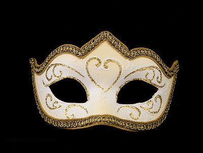 Mask Venetian Wolf White Golden Colombine a Tip Hallmarked a Venice 1193 V62
