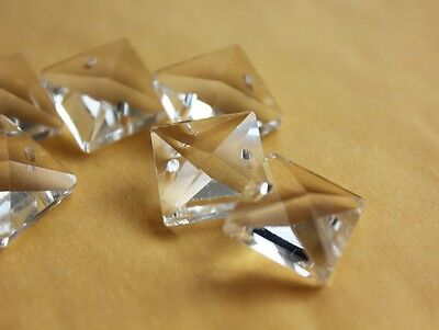 50 Clear 18mm Glass Square Bead Crystal Prism Chandelier Chain Lamp Part 2 Holes