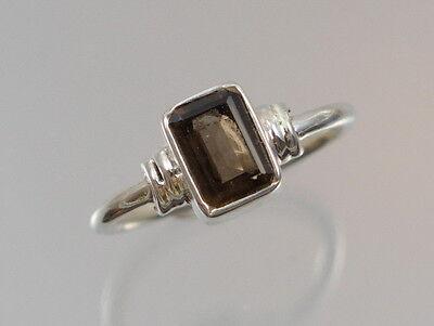 Ring mit Rauchquarz 925 Sterlingsilber Silberring Baguette Edelstein süß ()