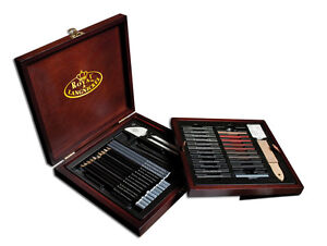 Royal-Langnickel-PREMIER-Sketching-ARTIST-SET-Wooden-Case-51-Piece-Great-Gift