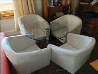 Glass table & white faux suede fabric bucket chairs x4