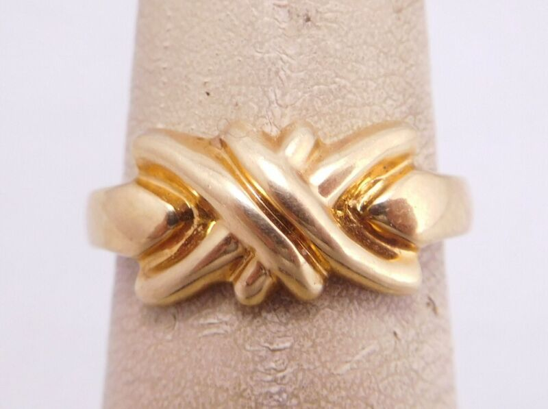 VINTAGE DESIGNER SIGNED 18K YELLOW GOLD LOVE KNOT RING