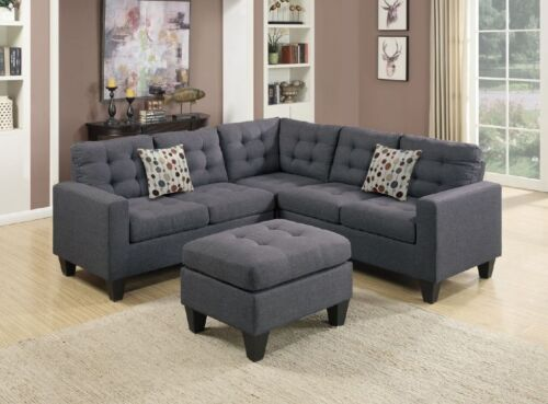 Classic Design Modern Sectional Sofa Set Loveseat Wedge Ottoman Blue Gray Couch