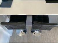 Bar stools, leather back