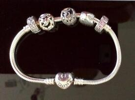 Genuine Pandora Bracelet & 5 Charms - All Marked ALE 925 Silver - Brand New With Box & Gift Bag