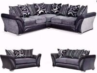 🔲🔳AMAZING SALE NOW ON🔲🔳 BRAND NEW CHENILLE FABRIC+LEATHER SHANNON 3+2 SOFA OR CORNER SOFA