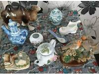 JOBLOT OF OLD MIXED TEAPOTS AND ORNAMENTS