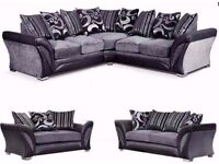 NEW! LARGE SHANNON CORNER 5 SEATER GREY / BLACK FABRIC FAUX LEATHER SETTEE FARROW- SAME DAY DELIVERY
