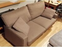 Sofa: Good condition, 2 seater, Brown fabric, Used, Easy to assemble.