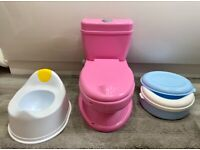 Potty training toilet with potty and portable travel potty