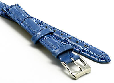 14mm Blue Quality Croco Embossed Leather Watch Strap With 2 Spring Bar Croco Embossed Leather Strap