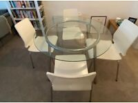 *PRICE REDUCTION* High quality round glass dining table with 4 matching white chairs