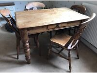 Beautiful Rustic French Farmhouse Dining Table & 4 Mismatched Chairs Vintage Set