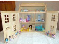 Large Wooden Dolls House. (Packed with furniture & Dolls.)