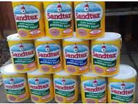 12 X 5 ltr tins 9 full ultra smooth Sandtex Masonry Paint and I partly used and 2 fine textured