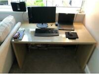 Oak effect desk with glass top