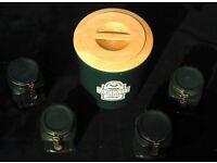Ceramic Tea, Coffee x 2 and Sugar Jar Canisters and Bread Bin Kitchen Set