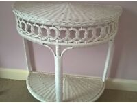 WHITE WICKER/CANE HALF MOON TABLE WITH LOWER SHELF