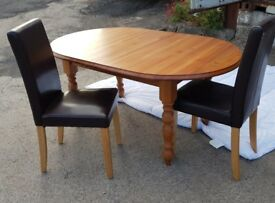For Sale: Oak Dining Table - extendable plus 4 Leather Dining Chairs