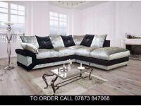 asdv Casper Crushed Velvet Fabric Corner Sofa Settee laas