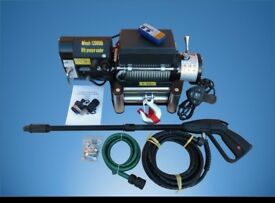 RECOVERY WINCH WITH PRESSURE WASHER 12V 12000 lb Brand New