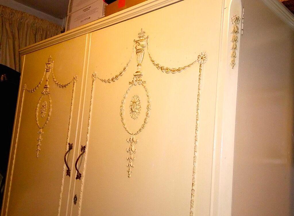 Bedroom Set Cream Antique Shabby Chic Style Furniture