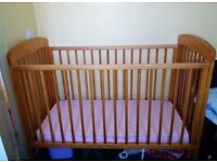 Mama's and Papa's cot with immaculate deluxe mattress.