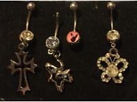4 Belly Bars pink Playboy & Dangle Cross / Butterfly all New bundle