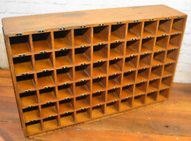 1930s oak 60 pigeon hole draw cabinet factory industrial antique vintage haberdashery office storage