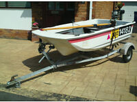 8 foot cathedral hull dinghy plus outboard and trailer plus extras