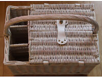 Wicker picnic hamper and matching blanket, includes plates, cuttlery, cool bag and champagne flutes