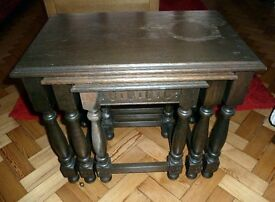 Set 3 Solid Hardwood Nesting Tables in need of upcycle/restoration.