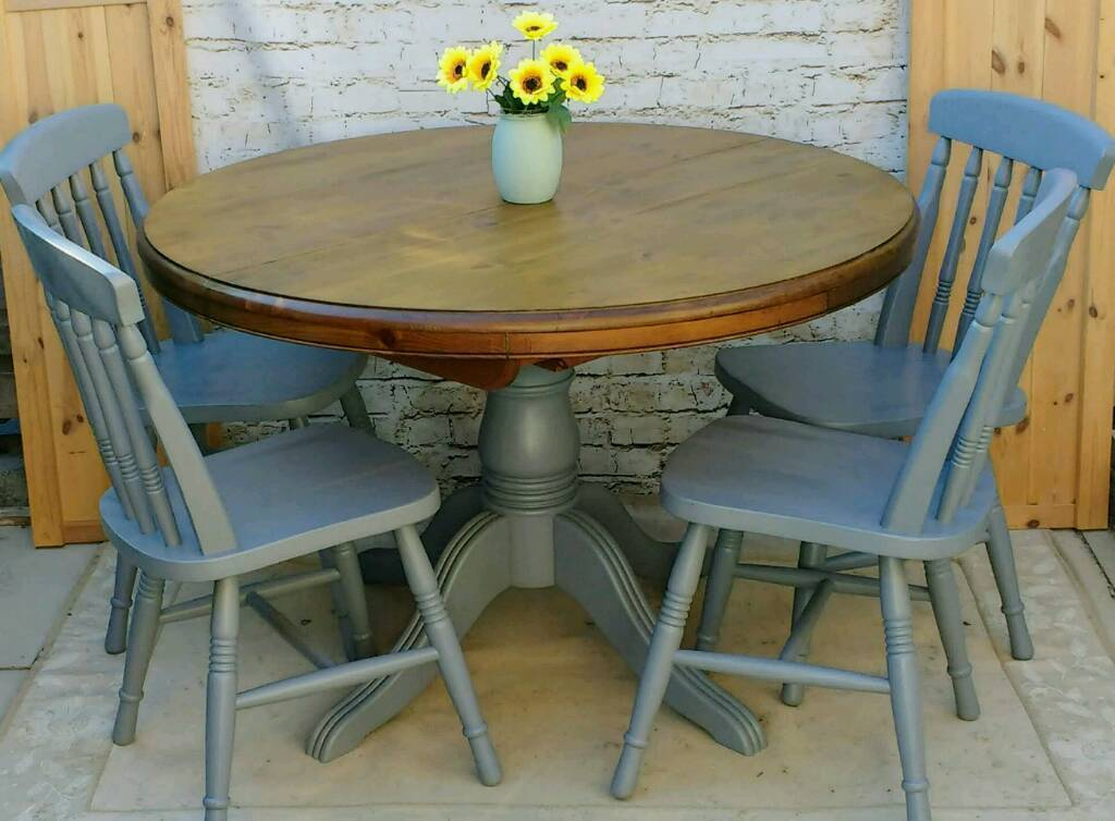 rustic shabby chic round extendable pedestal kitchen