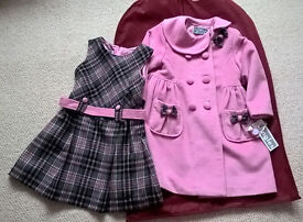 Brand NEW with tag Age 2-3 Winter Coat & pinafore dress set
