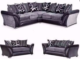 """LONDON FREE DELIVERY"" new large SHANNON CORNER 5 SEATER GREY / BLACK FABRIC LEATHER SETTEE FARROW"