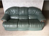 Green leather sofa and two arm chairs in fantastic condition
